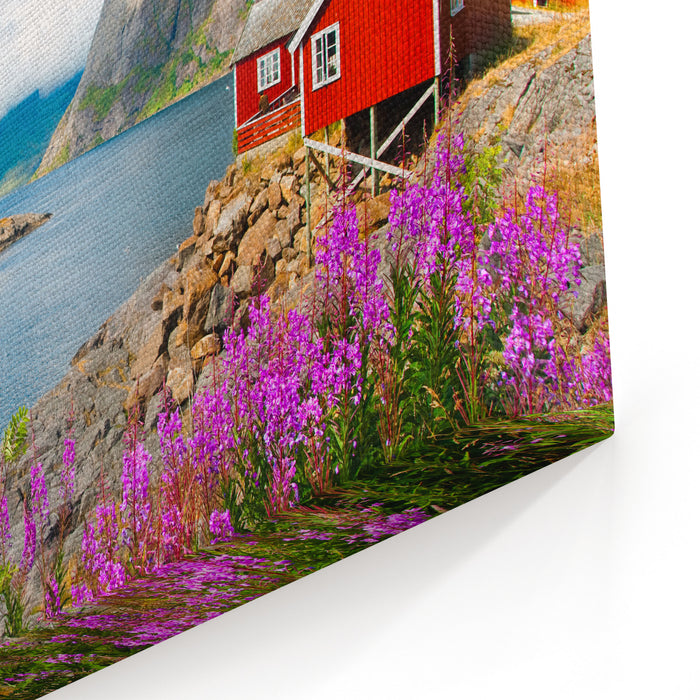 Tipical Red Fishing Houses In A Harbor On Lofoten Islands, Norway Canvas Wall Art Print