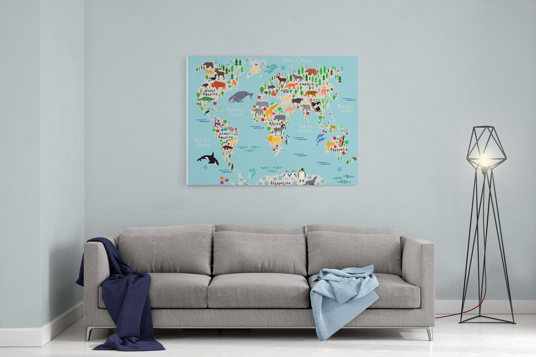 Animal Map Of The World For Children And Kids Canvas Wall Art Print