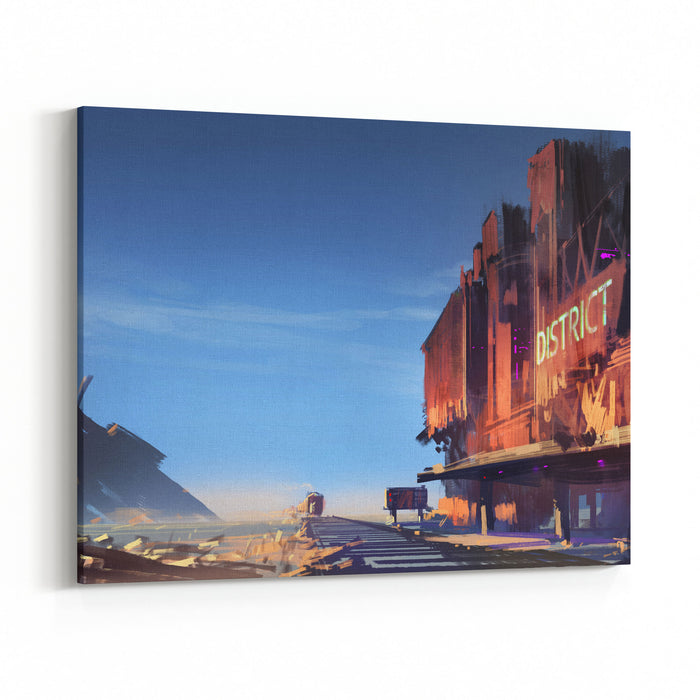 Digital Painting Showing The Ruined Train Station Canvas Wall Art Print