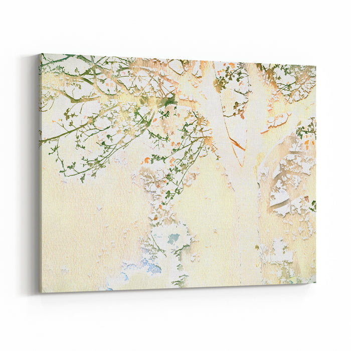 Pastel Watercolor Tree And Branch Illustration Canvas Wall Art Print