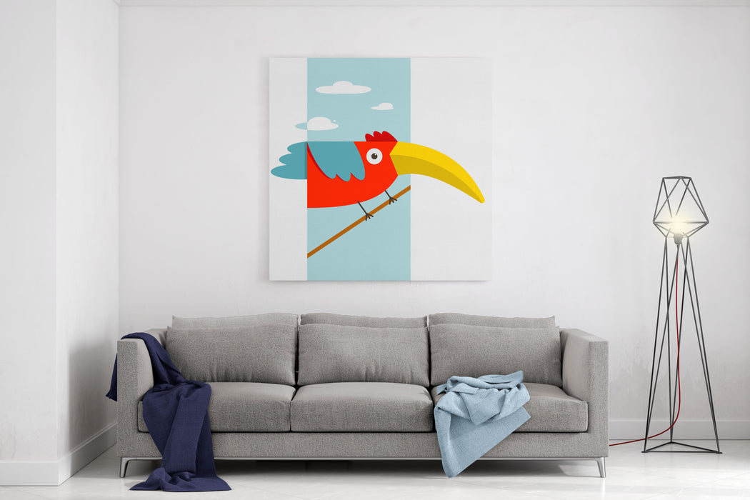 Toucan Bird With Big Beak Sitting Colorful Cartoon Exotic Red Bird Vector Illustration EPS Canvas Wall Art Print