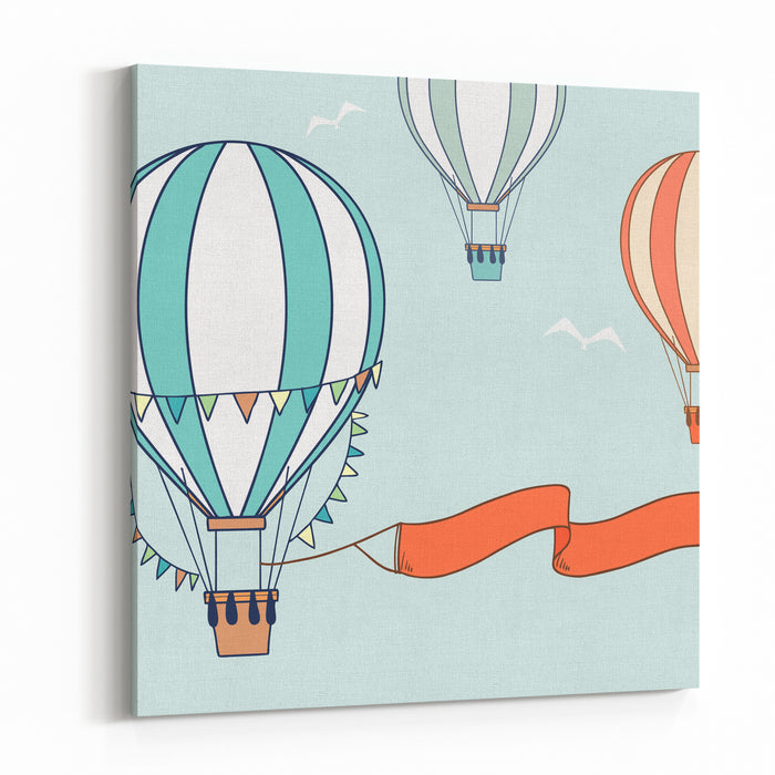 Air Balloons With Party Ribbon, Flags And Birds Vector Illustration Canvas Wall Art Print