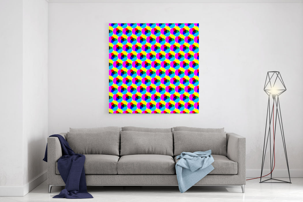 CMYK Circles Abstract Colorful Dotted Wallpaper Background Canvas Wall Art Print