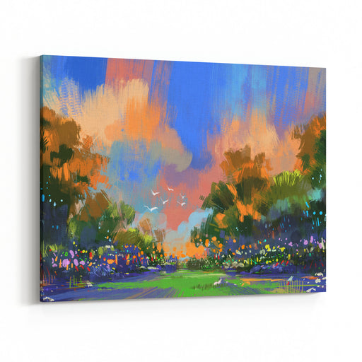Painting Of The Colorful Path In The Forest,illustration Canvas Wall Art Print