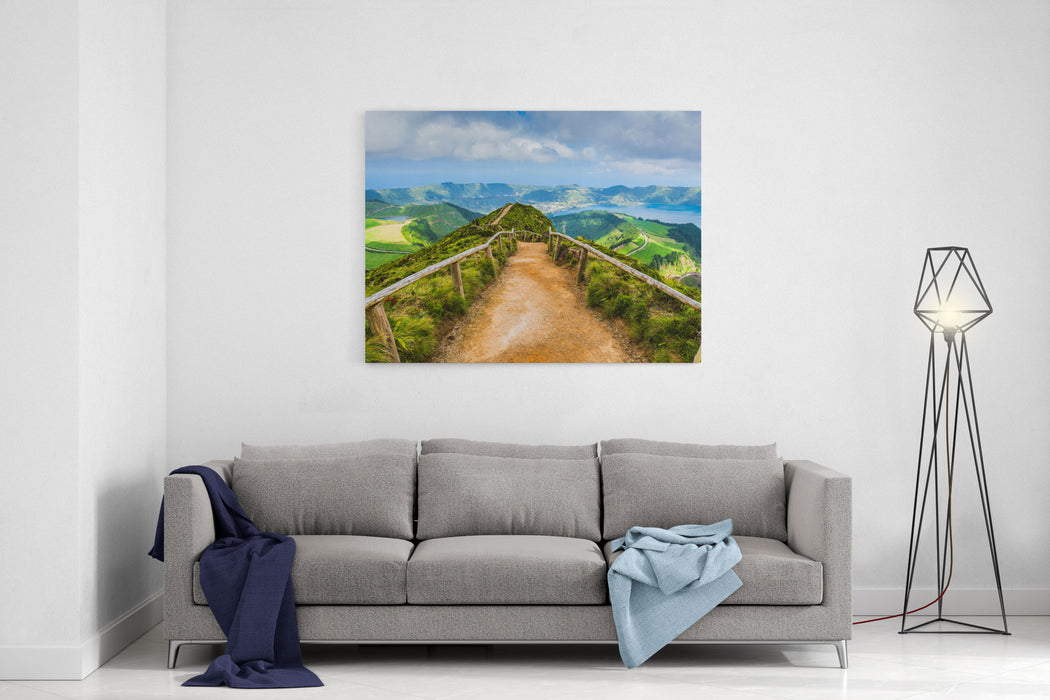 Walking Path Leading To A View On The Lakes Of Sete Cidades, Azores, Portugal Canvas Wall Art Print