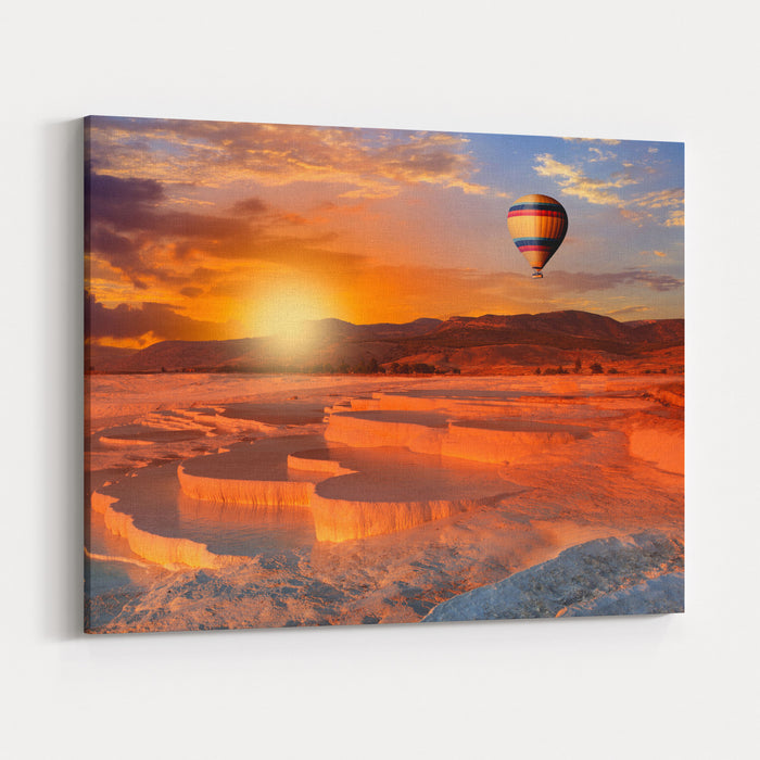Beautiful Sunrise And Natural Travertine Pools And Terraces, Pamukkale, Turkey Canvas Wall Art Print
