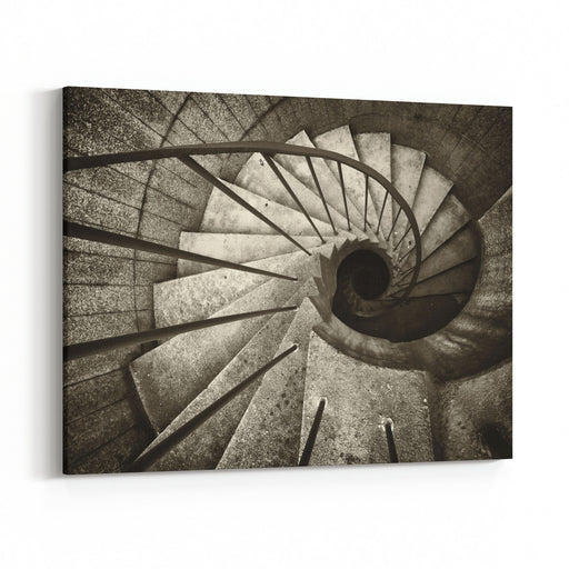 Beautiful Spiral Staircase At An Emergency Exit Canvas Wall Art Print