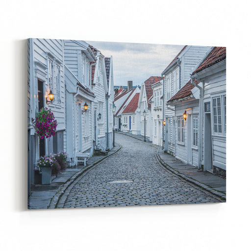 Curvy Street With Old Nice White Houses In Historical Center Of Stavanger City, Norway  Architecture Background Canvas Wall Art Print