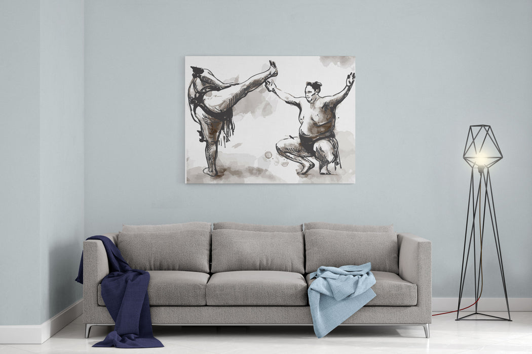 An Hand Drawn Converted Vector From Series Martial Arts SUMO Sumo Is A Competitive Fullcontact Wrestling Sport Originated In Japan, The Only Country Where It Is Practiced Professionally Canvas Wall Art Print