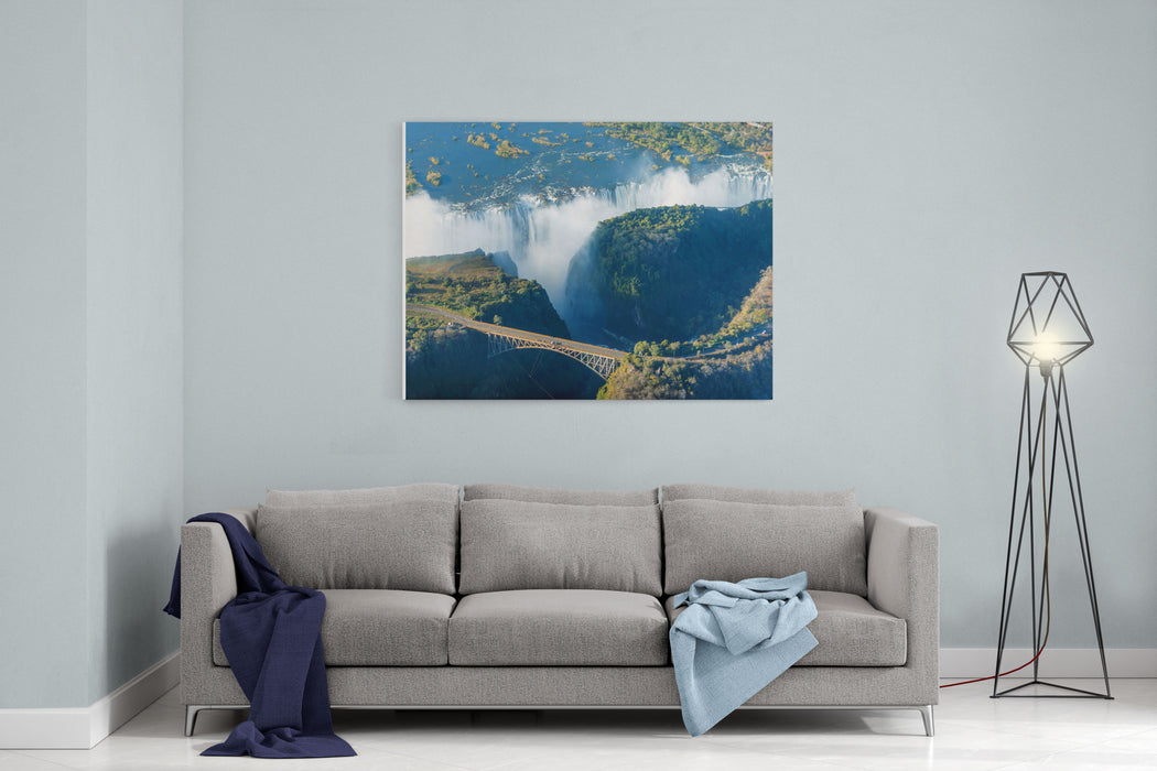 The Victoria Falls Is The Largest Curtain Of Water In The World  M Wide The Falls And The Surrounding Area Is The National Parks And World Heritage Site Helicopter View  Zambia, Zimbabwe Canvas Wall Art Print