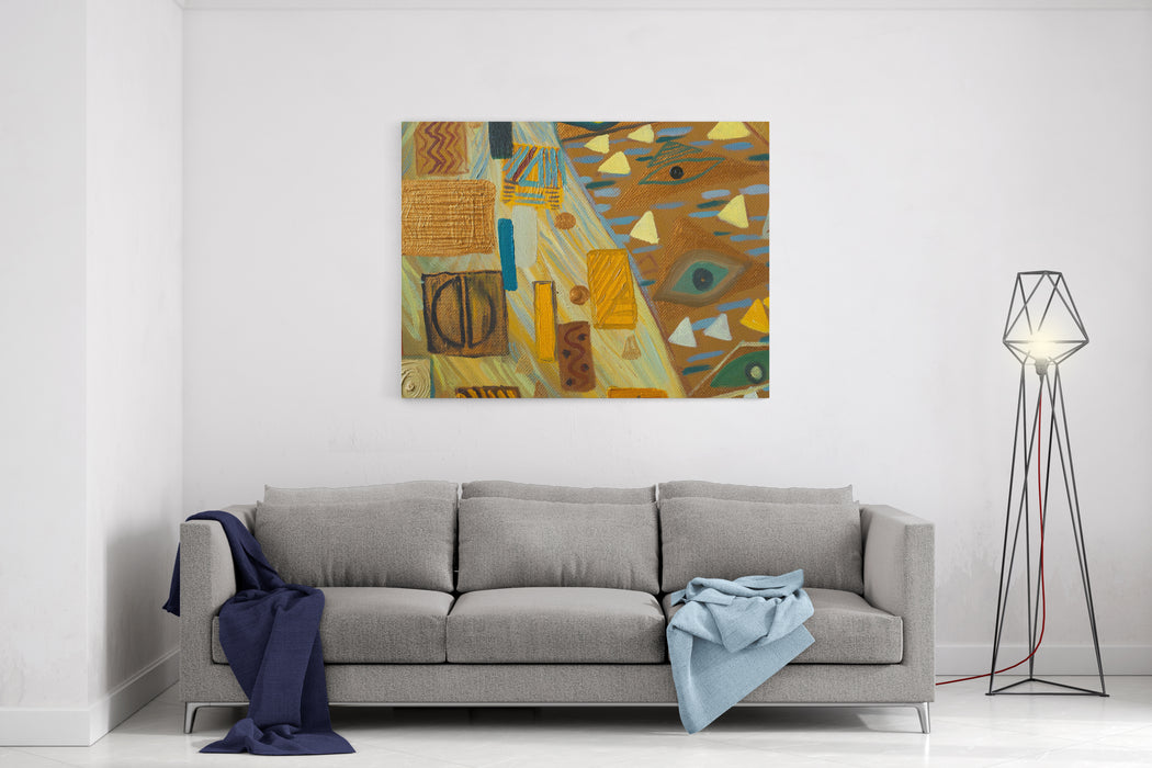 Texture, Background And Colorful Image Of An Original Abstract Painting,oil On Canvas Canvas Wall Art Print