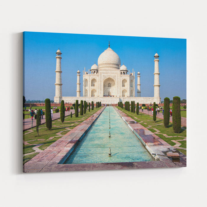 Famous Taj Mahal Mausoleum In In Bright Clear Day, Agra, India, UNESCO World Heritage Site  Architecture Wallpaper Canvas Wall Art Print