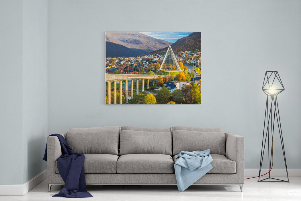 Arctic Cathedral In Tromso City In Northern, Norway  Architecture Background Canvas Wall Art Print