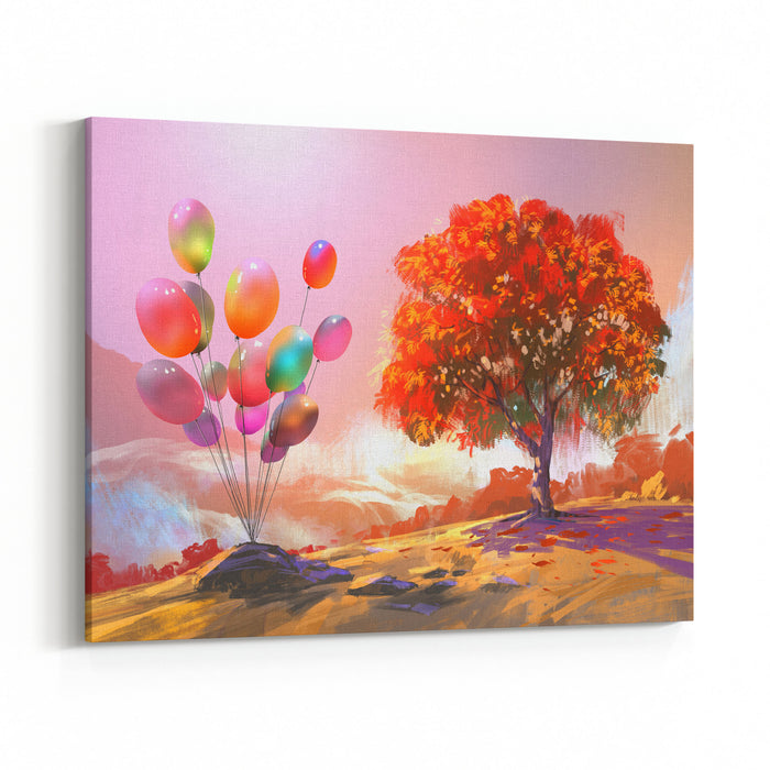 Digital Painting Of Colorful Balloons In The Autumn Hill Canvas Wall Art Print