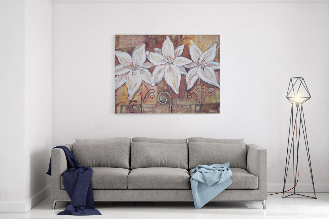 Pretty Lily Flower Brown Acrylic Painting Interior Decor Canvas Wall Art Print
