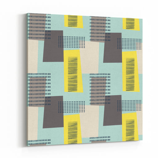 Abstract Seamless Pattern With Rectangles Lines And Dots Vintage Style Geometry Pattern Canvas Wall Art Print