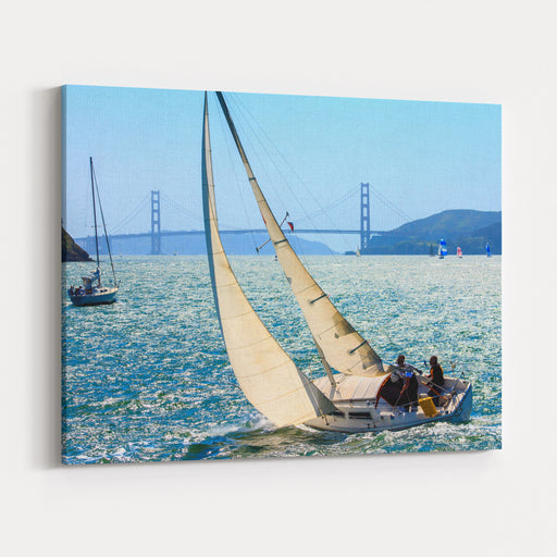 Sailboats In The San Francisco Bay Between Tiburon And Angel Island,California, In Early April Canvas Wall Art Print