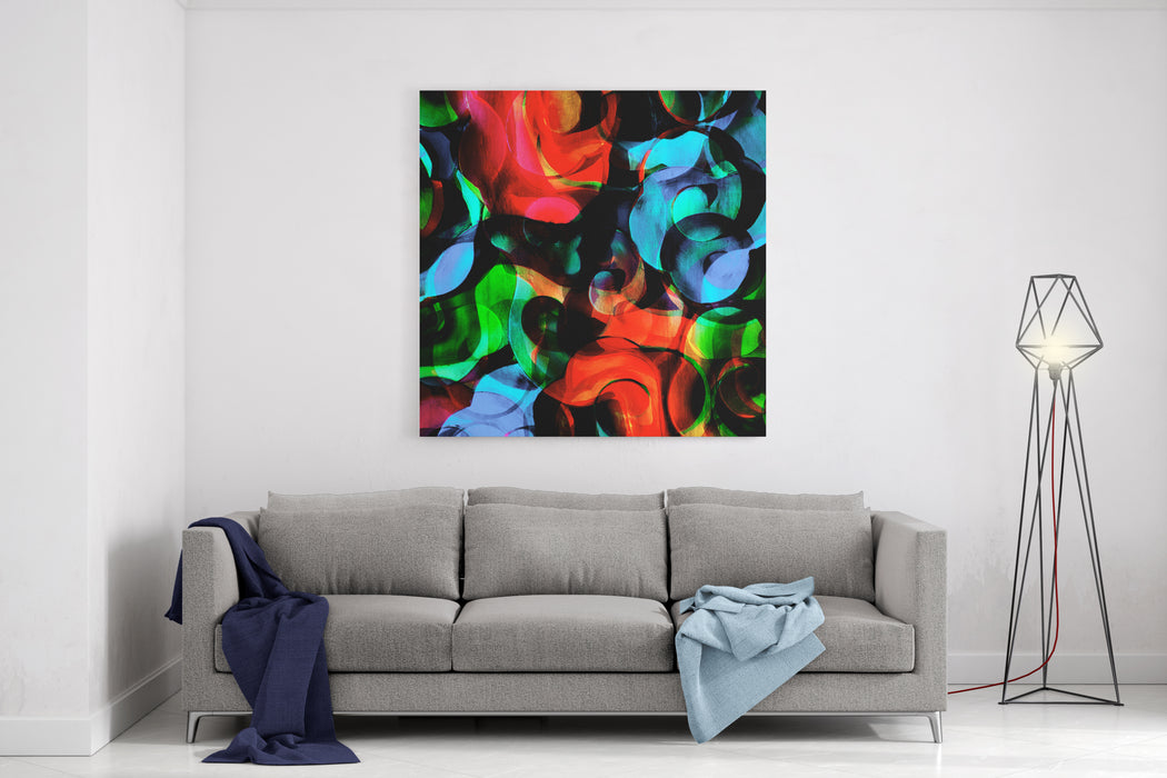 Abstract Painting In Curve Lines Pattern Canvas Wall Art Print