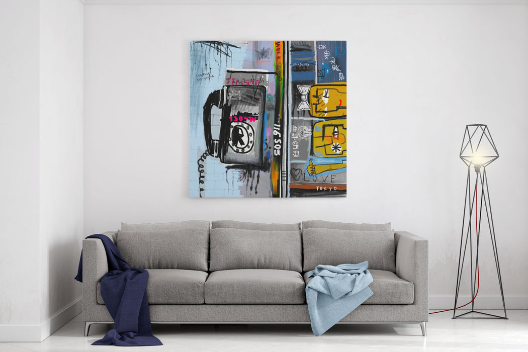 Graffiti With Telephone Canvas Wall Art Print