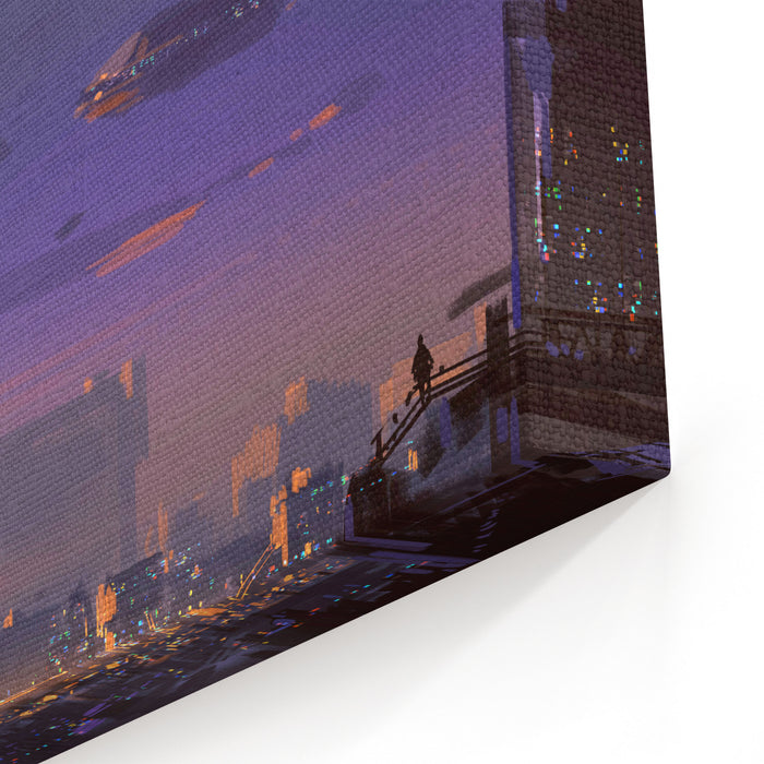 Landscape Digital Painting Of Scifi City,illustration Art Canvas Wall Art Print