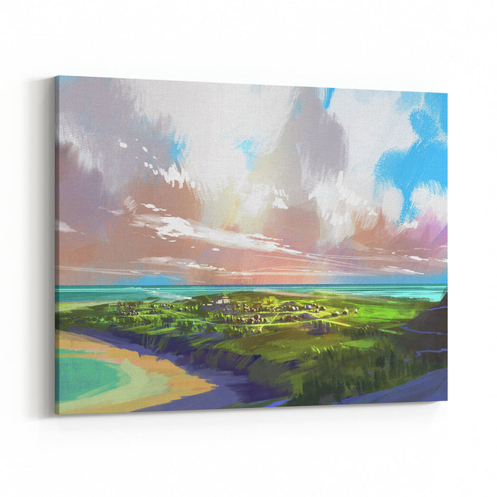 Digital Painting Showing Coastal View And Huge Clouds,illustration Canvas Wall Art Print