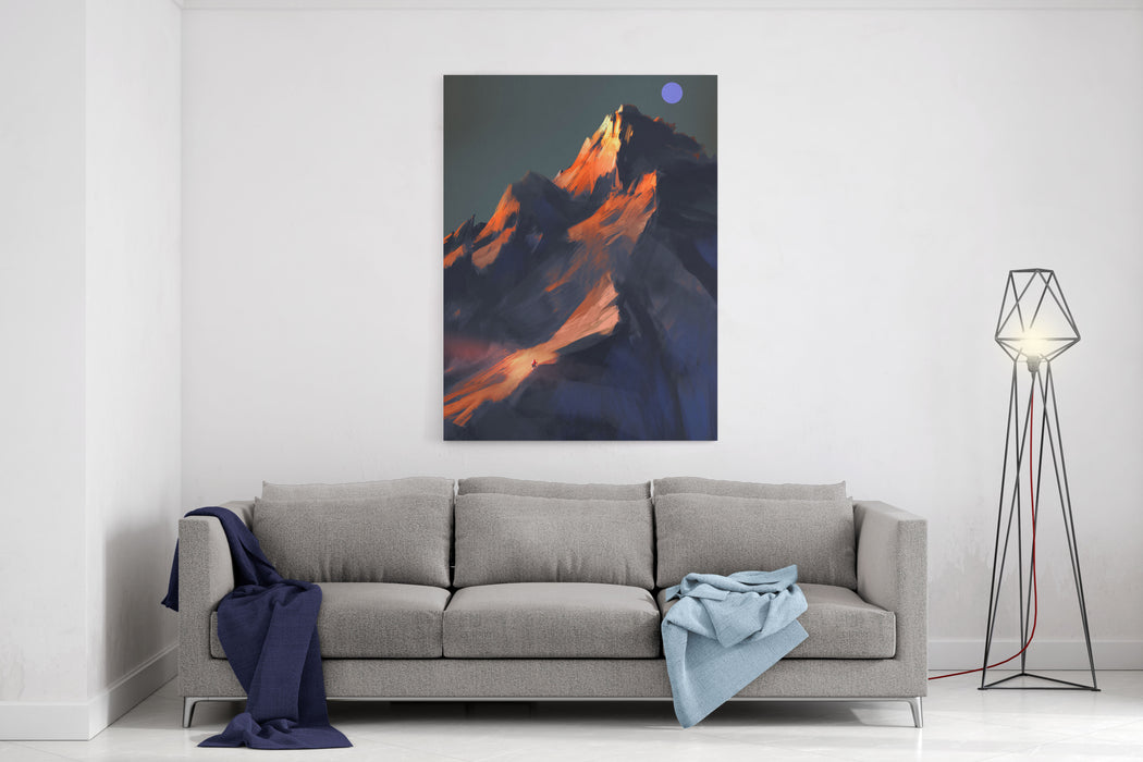 Digital Painting Showing Sunset Scene Over A Mountain Canvas Wall Art Print
