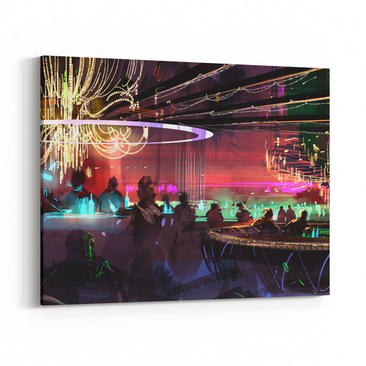 Digital Painting Of People In A Scifi Bar,illustration Canvas Wall Art Print