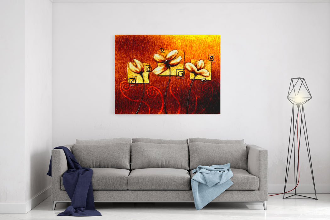 Abstract Flower Oil Painting Canvas Wall Art Print