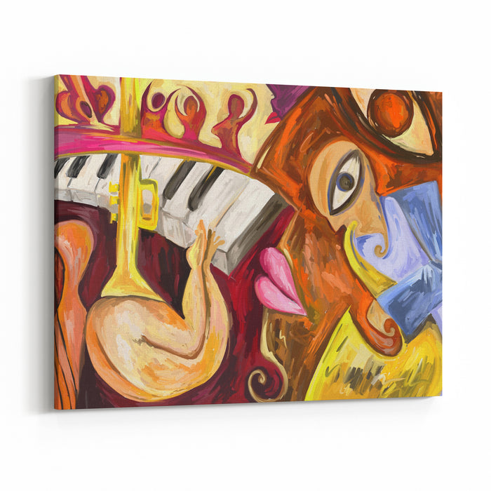 Abstract Jazz Music Oil Painting, Sax, Piano Digital Oil Painting Canvas Wall Art Print