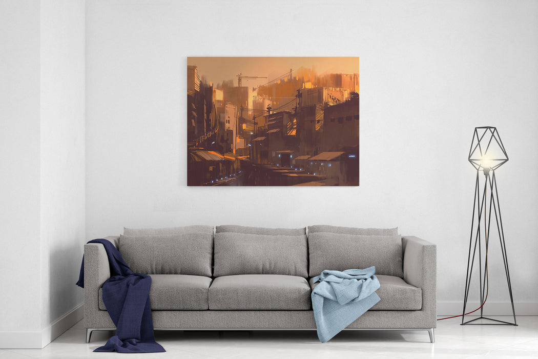 Old Scifi Building,digital Painting Illustration Canvas Wall Art Print