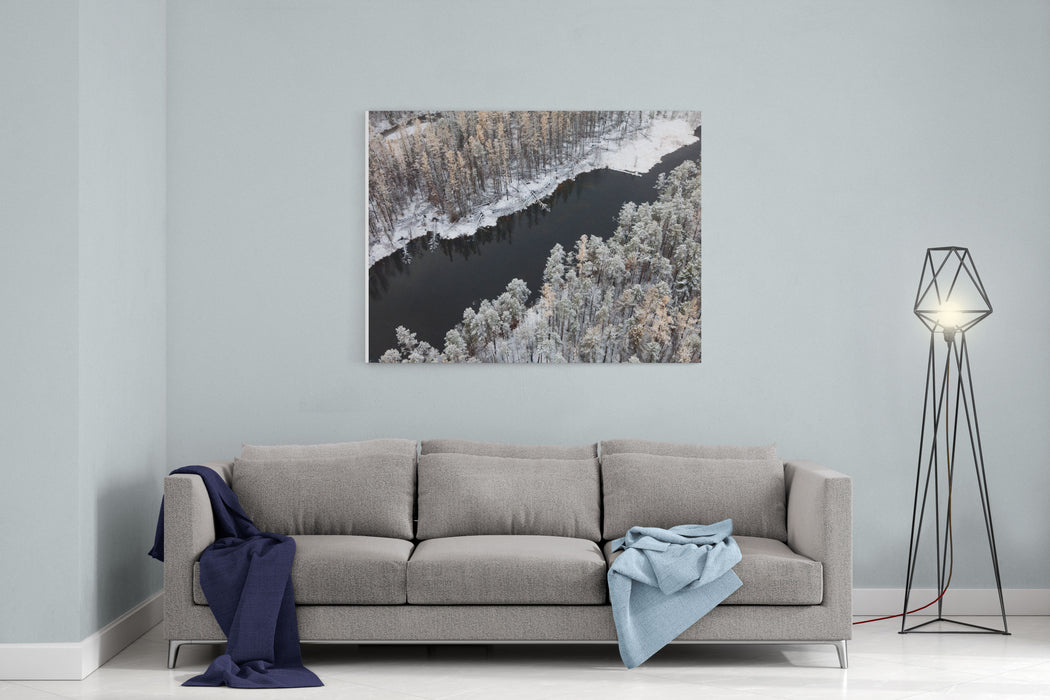 Aerial View Of Forest River In Cold Autumn Day During A Flight The Weather Is Cloudy And Snowy Canvas Wall Art Print