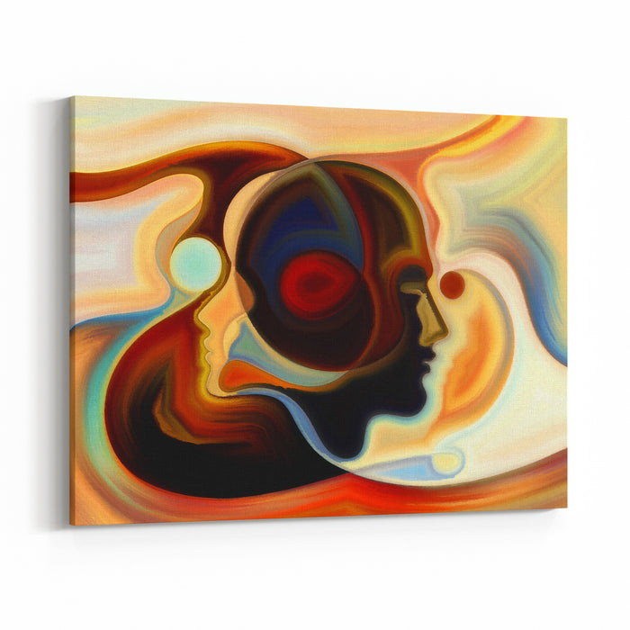Colors Of The Mind Series Artistic Abstraction Composed Of Elements Of Human Face, And Colorful Abstract Shapes On The Subject Of Mind, Reason, Thought, Emotion And Spirituality Canvas Wall Art Print