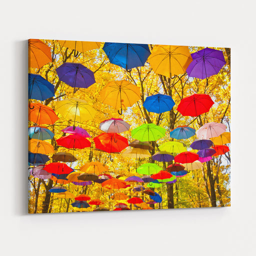 Autumn Umbrellas In The Sky Canvas Wall Art Print