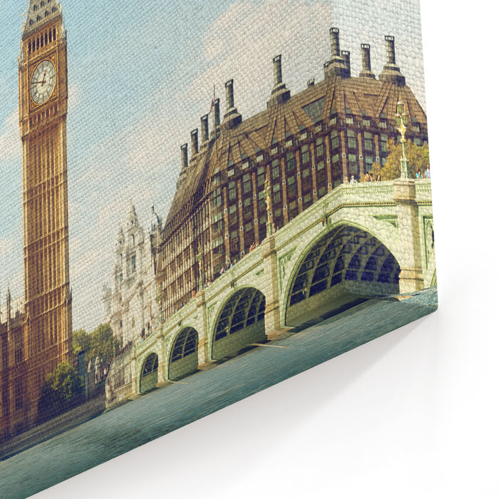 Big Ben In Sunny Day, London Canvas Wall Art Print