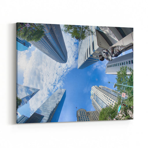 Financial Skyscraper Buildings In Charlotte North Carolina USA Canvas Wall Art Print