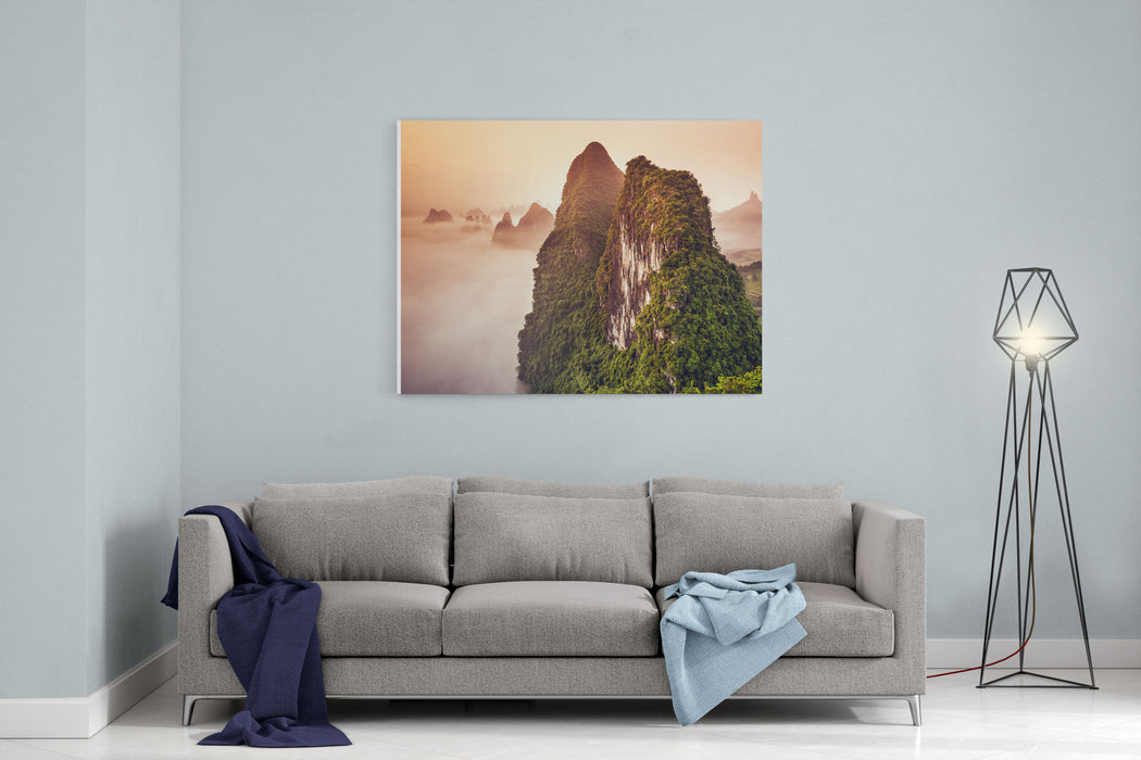 Xingping, Guilin, China Karst Mountains Landscape Canvas Wall Art Print