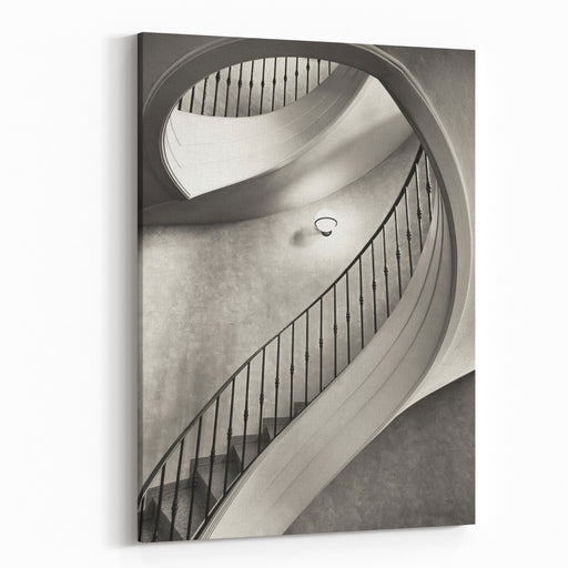 Beautiful Spiral Staircase  Looking Up Canvas Wall Art Print