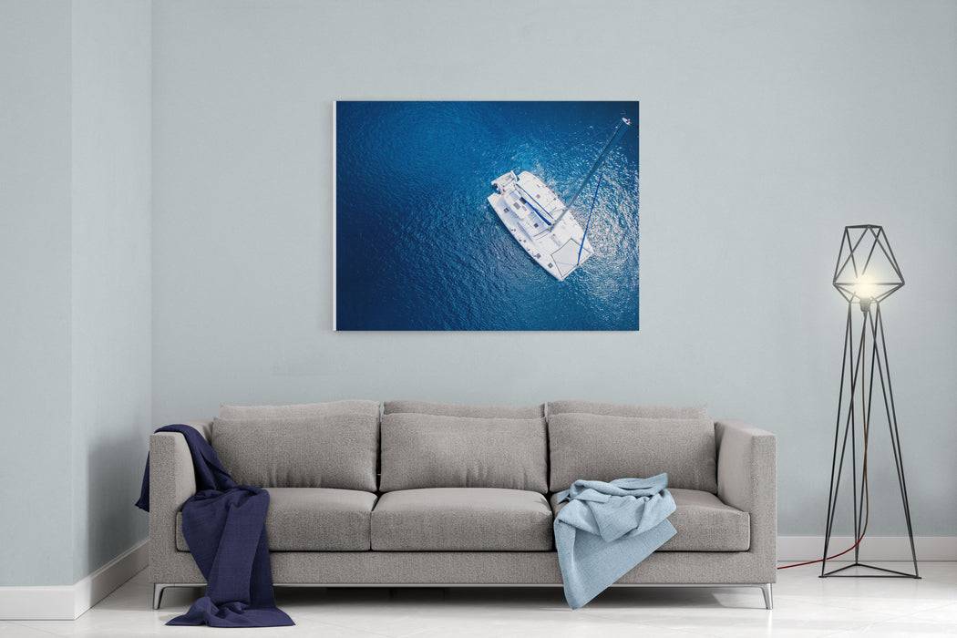 Amazing View To Yacht Sailing In Open Sea At Windy Day Drone View  Birds Eye Angle Canvas Wall Art Print