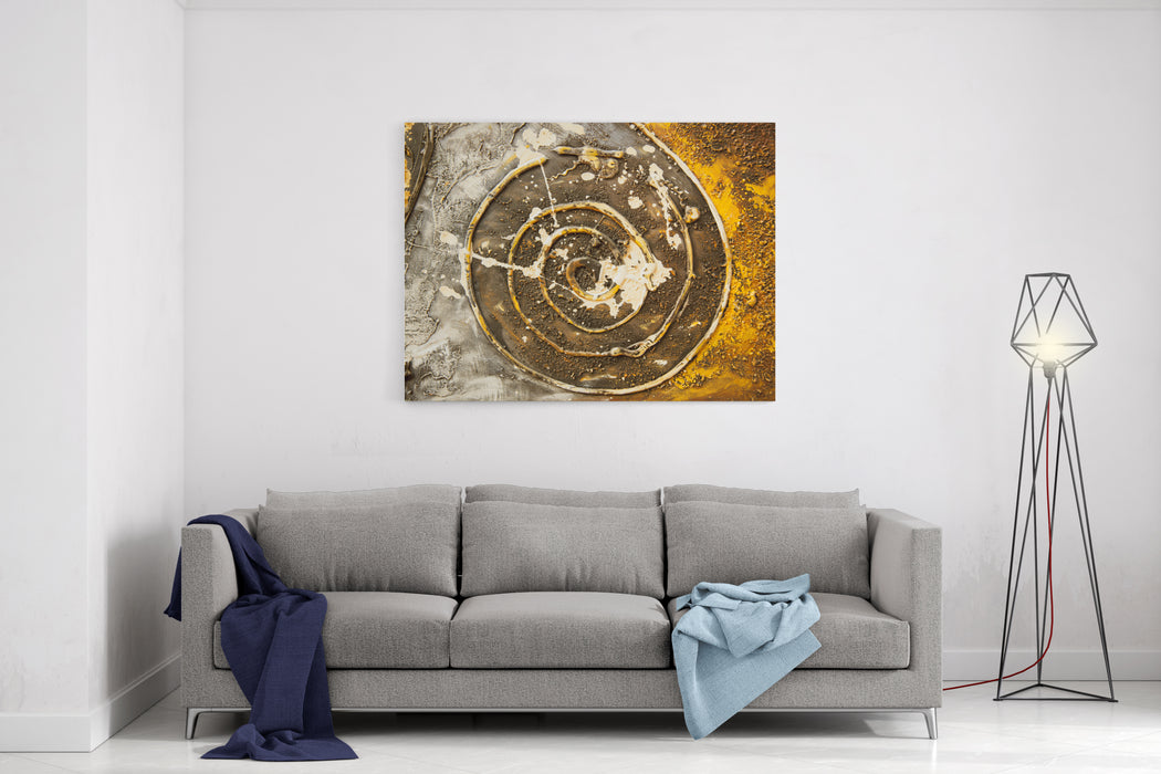 Modern Paintings, Colourful, Goldy And Fascinating Canvas Wall Art Print