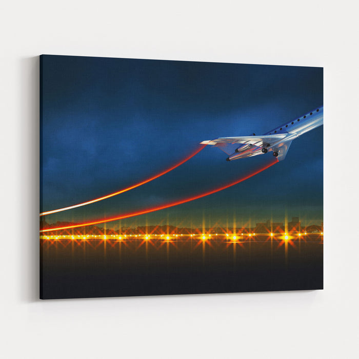 D Illustration Of An Aircraft At Take Off On Night Airport Bright Lights At Runway And Speed Lines From Airplane Wings Canvas Wall Art Print