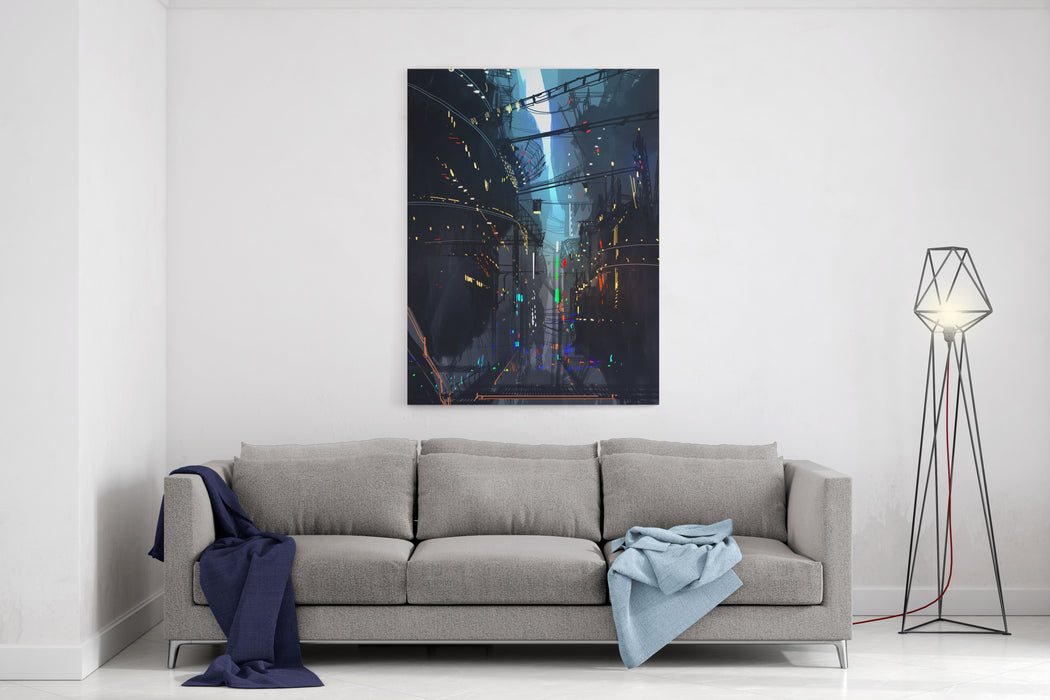 Futuristic Floating City,landscape Digital Painting,illustration Canvas Wall Art Print