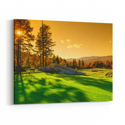 Fall Foliage Landscape, Stowe, Vermont, USA Canvas Wall Art Print