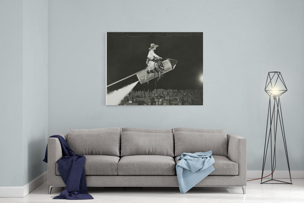 Cowgirl Takes Off On A Rocket Canvas Wall Art Print