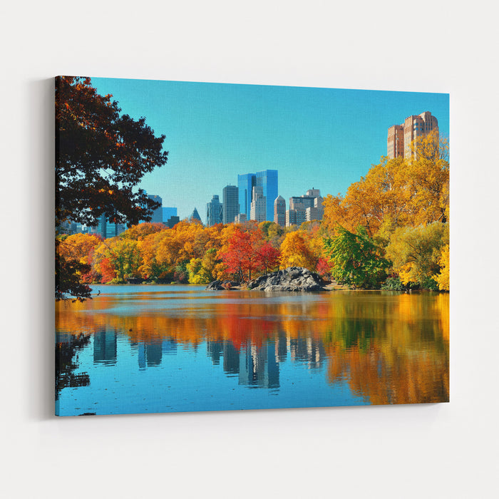 Central Park Autumn And Buildings Reflection In Midtown Manhattan New York City Canvas Wall Art Print