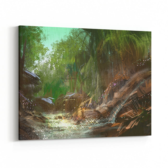 Landscape Digital Painting Of Waterfall,illustration Canvas Wall Art Print