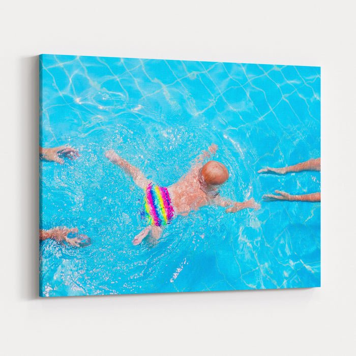 Cute Little Baby Swimming Underwater From Mother To Father In A Pool, Learning To Swim Lessons And Early Development Concept Canvas Wall Art Print