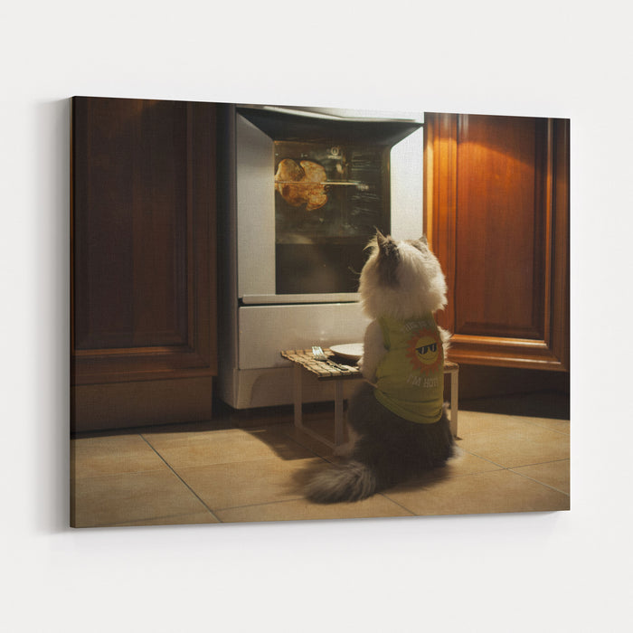 Cat Expects Cooking Chicken Canvas Wall Art Print