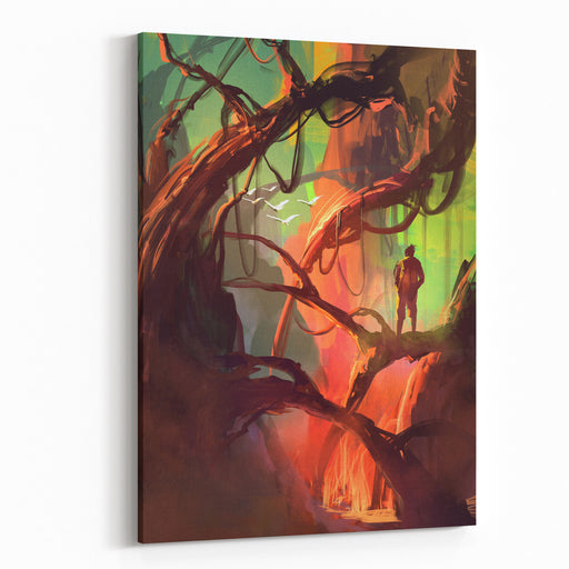 Digital Painting Of Fantasy Trees With Large Trunks And Big Roots Above The Ground Canvas Wall Art Print