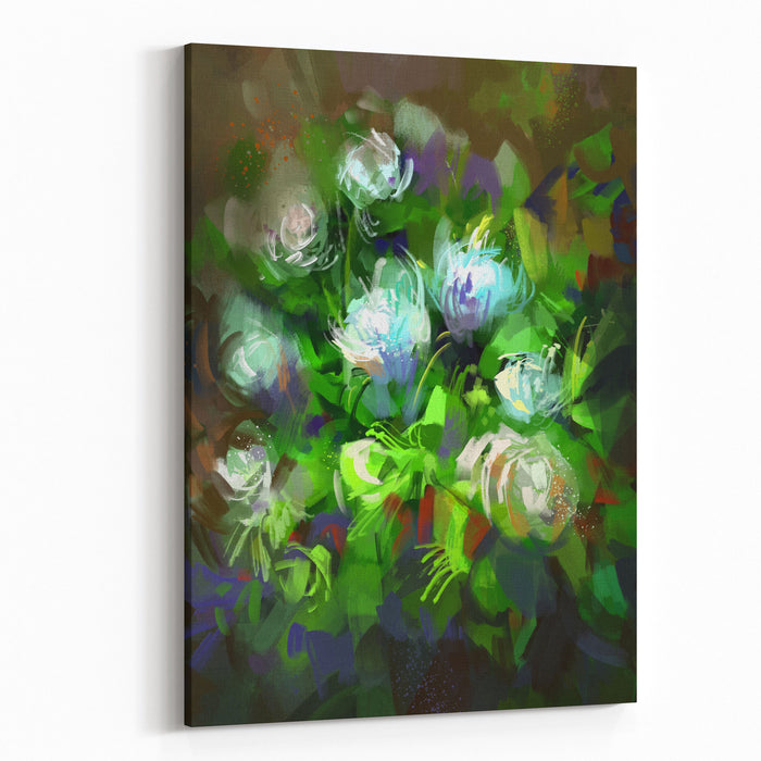 Digital Painting Showing Bunch Of White Flowers,illustration Canvas Wall Art Print