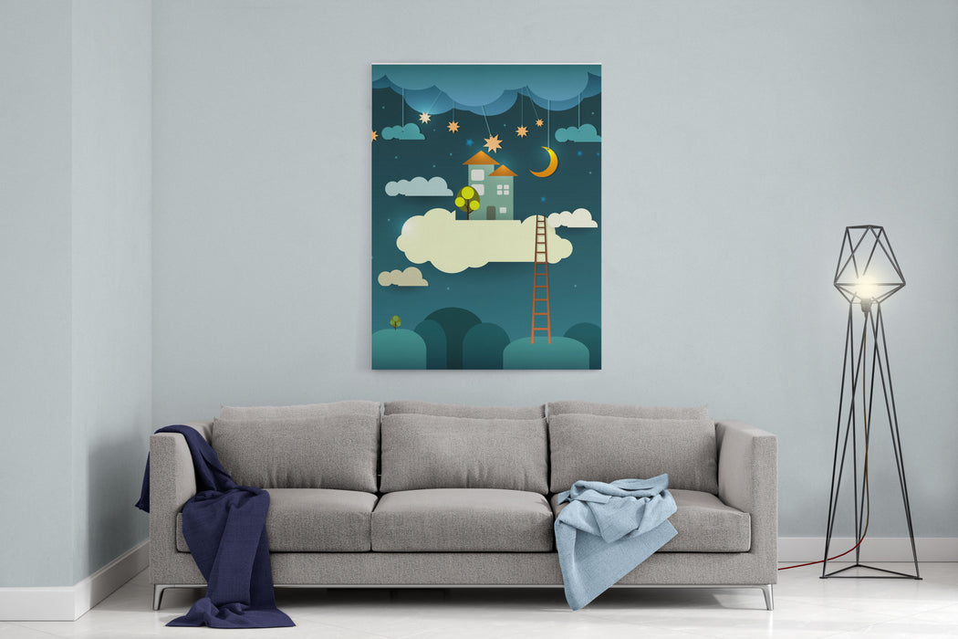 Abstract Paper Cutfantasy Home Sweet Home Moon With Starscloud And Sky At Night Blank Cloud For Your Text Design Canvas Wall Art Print